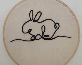 Bunny Rabbit Minimalist Embroidery - Wall Art - Hand Stitched - Perfect Gift - Line Art