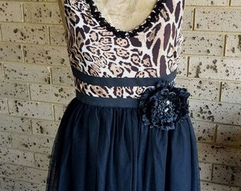 Black and Leopard Print Dress size S (6-8) AU