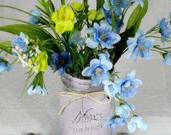 Spring Time Mason Jar Flower Bouquet