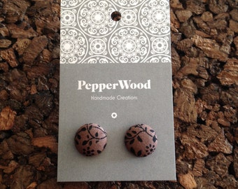 Chocolate brown with black 14mm fabric earrings