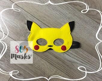 Pikachu Pokemon Inspired Masks, Kids Masks, Pokemon Costumes, Halloween mask, Dress up mask, Pokemon Birthday Party, Pokemon Party Favo