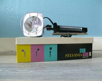 Sylvania Sun Gun II Model SG-55 Vintage Movie Light, Original Box & Manual, Mid Century Movie Light, Industrial Lamp