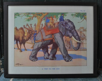 A framed 1950's educational poster titled 'A visit to the Zoo'