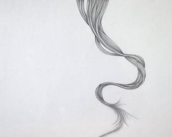 Fine Art Drawing, Graphite Hair, Elegant Unique Design, Hand Drawn Original Drawing,