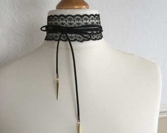 Lace suede cord choker necklace