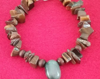 Tiger's eye Chunky bracelet, tiger eye nugget chip bracelet,  bracelet, green agate bracelet