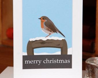 Christmas Greetings Card of a Robin (Card ID: WOSBB001)