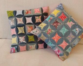 Denim patchwork cushions