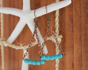 Triangluar Chain Dangle Earring with  Copper andTurquoise