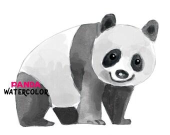Panda Watercolor clipart