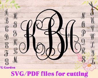 SVG font files for Cricut, Silhouette, Monogram SVG letters, vector alphabet
