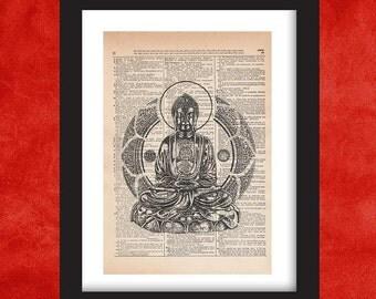 Buddha Wall Art, Dictionary Art Print, Dictionary Art, Dictionary Print, Dictionary Pages, Dictionary Page Art, Dictionart, Buddha Art
