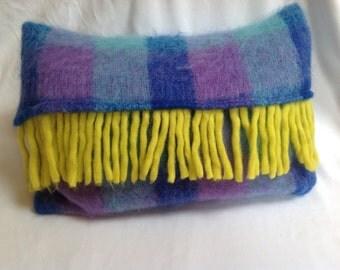 Mohair cushion with tassel , hand made cushion,