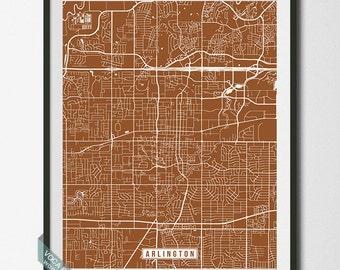 Arlington Print, Texas Poster, Arlington Poster, Arlington Map, Texas Print, Texas Map, Street Map, Office Decor, Dorm Wall Art