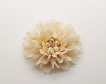 "3"" Ivory Chiffon Flower with Pearl Flower Button, Headband Flower, Fabric Flower."