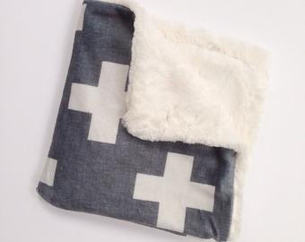 Grey Cross Baby Blanket, Grey Cross Lovey, Minky Baby Blanket, Gender Neutral Baby Blanket, Modern Baby Blanket,