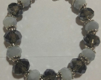 Smokey Quartz and gray white capped beaded bracelet