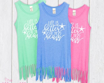 Life is better, beach dress, lake dress,  beach cover up, swim cover up, fringe dress, girls dress, baby girl dress, tank dress,