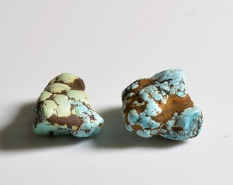 Natural Raw Turquoise points/Non Gel Turquoise points/ Turquoise Seed Material /Double Color Turquoise-2pieces