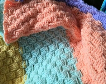 Handmade, Sherbet basket weave , made to order afghan or baby throw