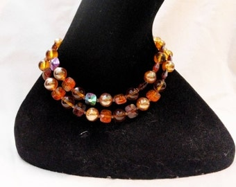 Marvella 2 Strand Amber Toned Glass Beads Necklace