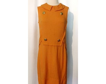 Gay Gibson Mustard 60s Mod Linen Dress with Eagle Buttons