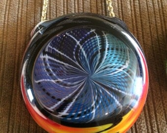 Fishbowl Glass retticello/wigwag reversable hollow pendant