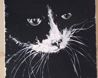 BLACK & WHITE cat canvas