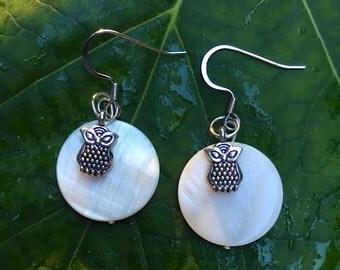 Moon owl earrings