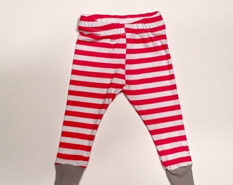 pink striped girls leggings, baby leggings, toddler leggings, striped leggings