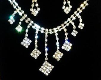 bridal wedding pageant prom bib princess cut rhinestone crystal pierced earring necklace jewelry gift accessories