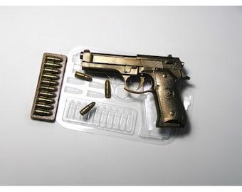 Gun mold, plastic mold, beretta mold,bullet mold, handgun mold, cartridge mold, bullets mold, pistol mold, revolver mold, soap mold