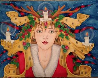 Christmas woman art print/poster