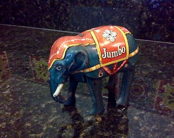 Vintage Tin Litho Wind-Up Jumbo Circus Elephant Toy - 1940's - U.S. Zone Germany