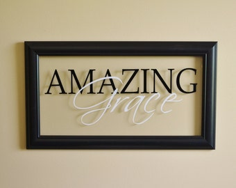 Amazing Grace Wall Decor Glass Wall Sign Christian Wall Decor Religious Sign 13x23