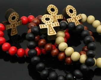 Assorted Woden Bracelets -Anhk-Pharaoh-Heart-Skull-Money Bag