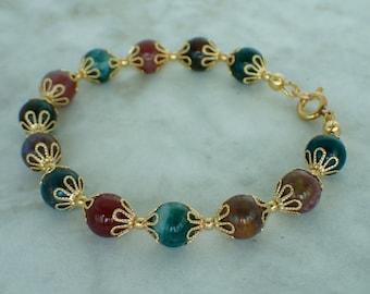 "India Agate Gemstone and Gold Beaded Bracelet 7 """