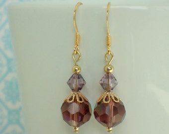 Purple Beaded Swarovski Crystal Gold Plated Earrings