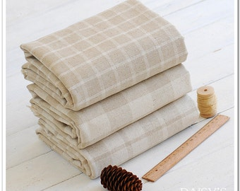 Yarn Dyed Check Plaid Cotton Linen Blend Fabric,Upholstery Fabric for Curtain Bag Tablecloth DIY Handcraft