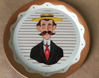 Vintage Miniature Caricature Tray. Kitchen Decor. Decorative Tray