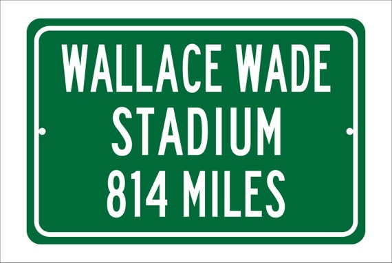 Custom College Highway Distance Sign to Wallace Wade Stadium | Home of the Duke University Blue Devils |  Duke Blue Devils Football |
