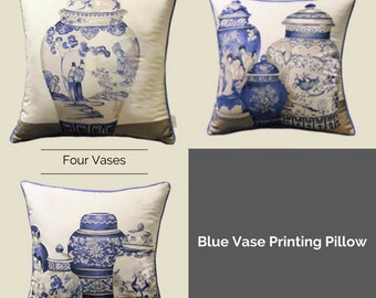 "Luxury Blue One/Three/Four Vase Printing Pillow Cover 18""X18"""