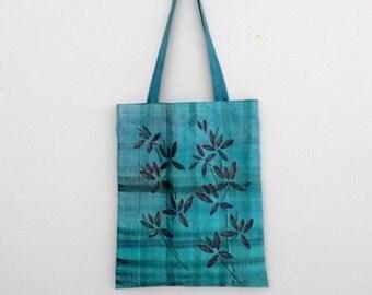 handpainted tote bag 'chinatown' bluegreen