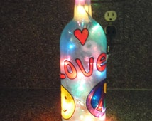 Hand-painted - Peace & Love - Upcycled Wine Bottle - Accent Lamp