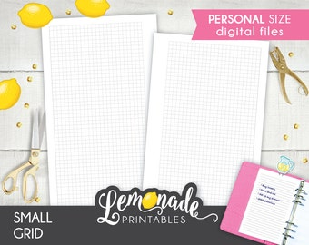 Small Grid Planner Insert Printable Personal 1/8 inch planner Insert Grid Pages Graph planner insert fit Personal filofax and kikki k medium