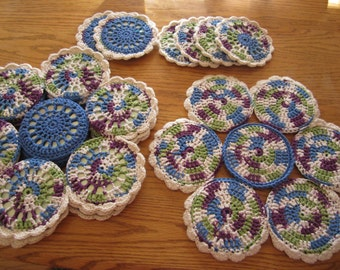 Multi-Colored Crocheted CD 4 Placemat Set, Placemat, Recycled CDs, Flower Placemat, Placemat Set