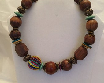 Wooden Chunky Choker Necklace