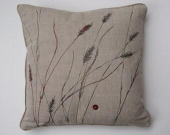 Pennisetum Embroidered Linen Cushion (2)