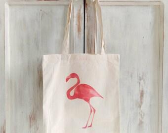 Canvas tote bag flamingo pink