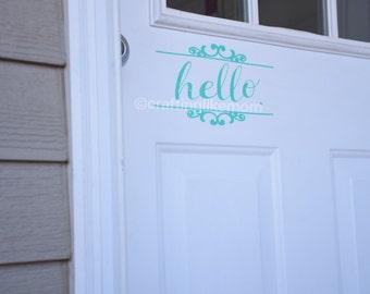 Wall decal - Hello Door Decal.